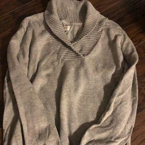 Women's Cowl Neck Gray Sweater Size M